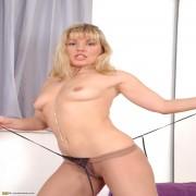 Blonde housewife Danielle showing her panties